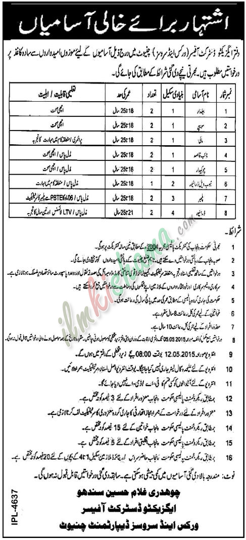 Office of the Exectutive District Officer (Works and Services) Chiniot jobs