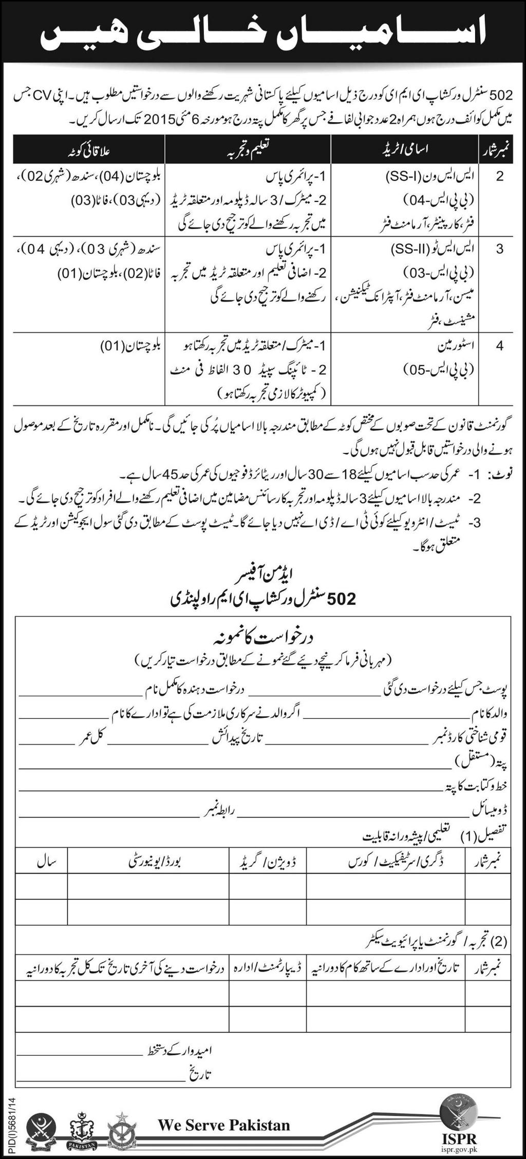 Jobs in 502 Central Workshop EME Rawalpindi
