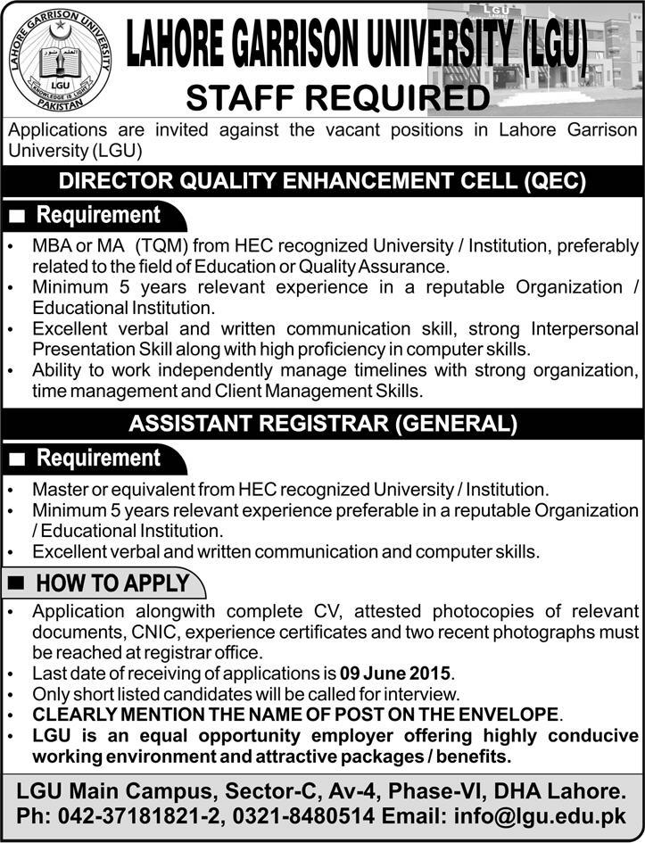 Lahore Garrison University Jobs