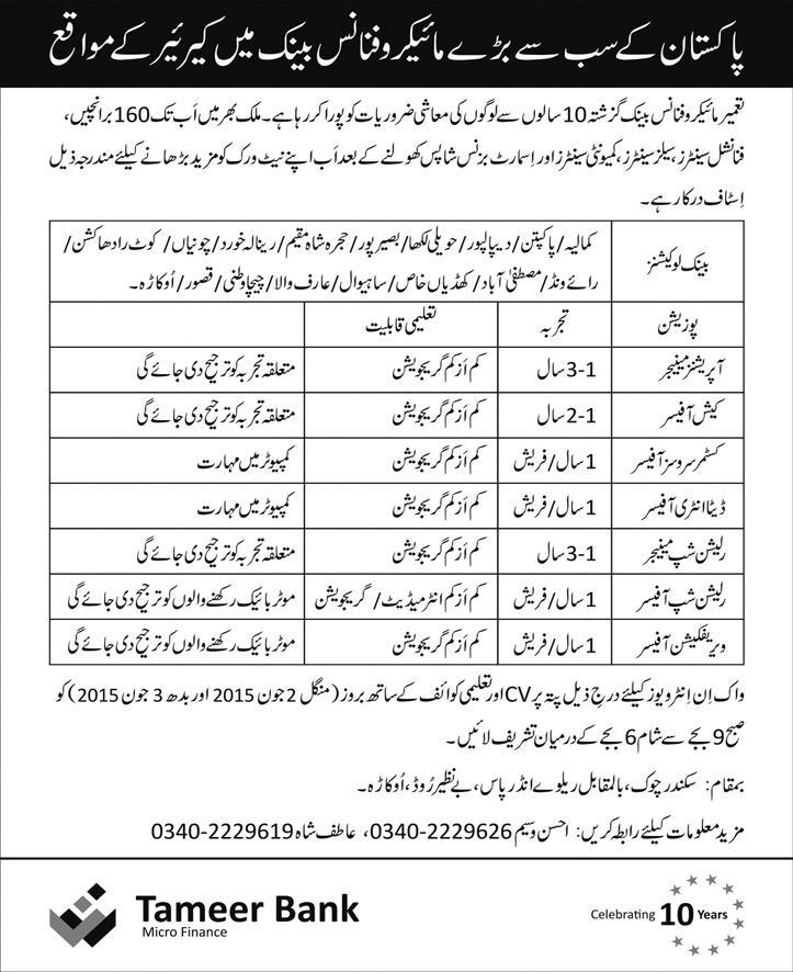 Tameer Micro Finance Bank Jobs