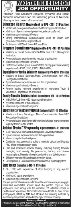 Pakistan Red Crescent jobs
