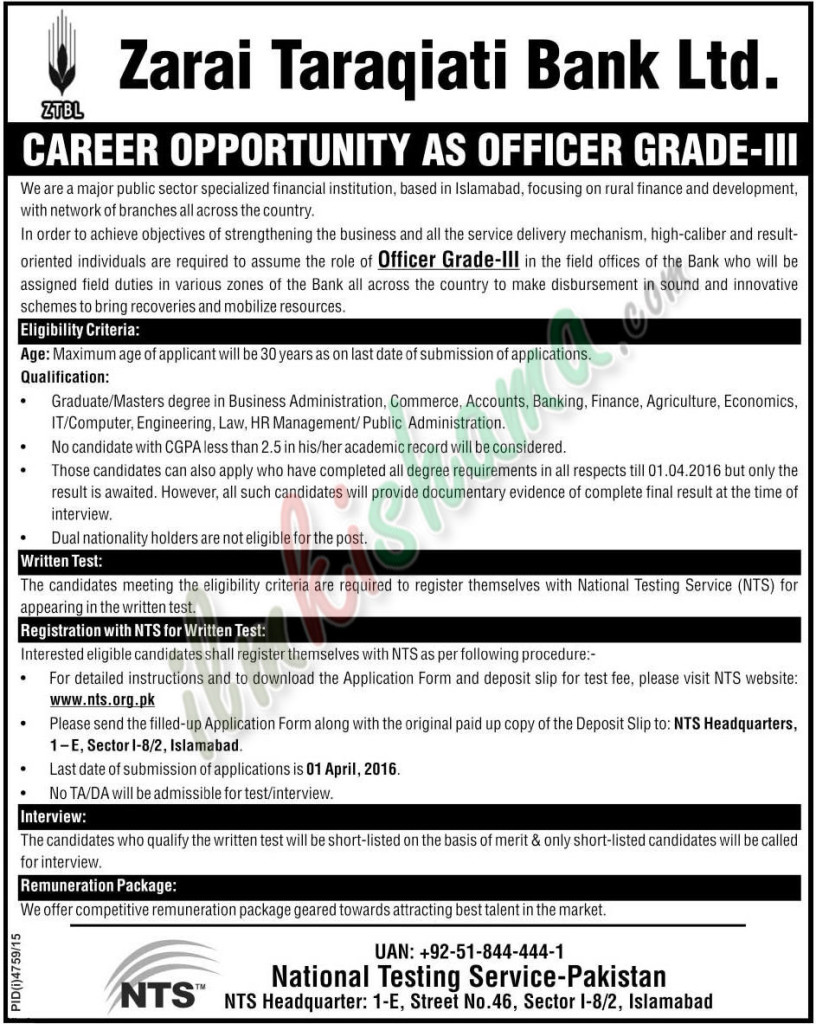 Zarai Traqiati Bank Ltd Jobs