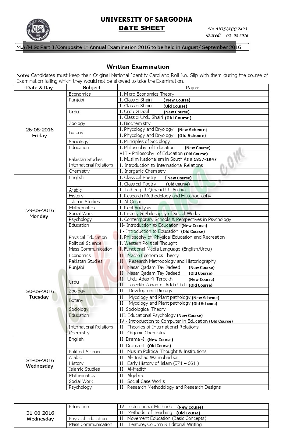 Date Sheet M.AM.Sc Part-I saragodha university 2016 1