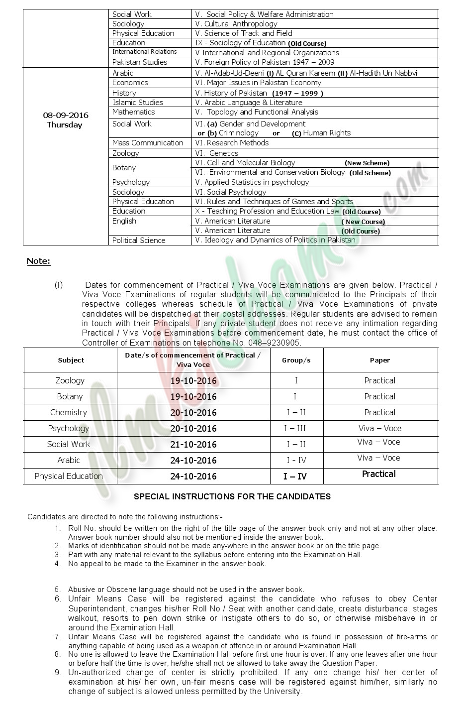 Date Sheet M.AM.Sc Part-I saragodha university 2016 3