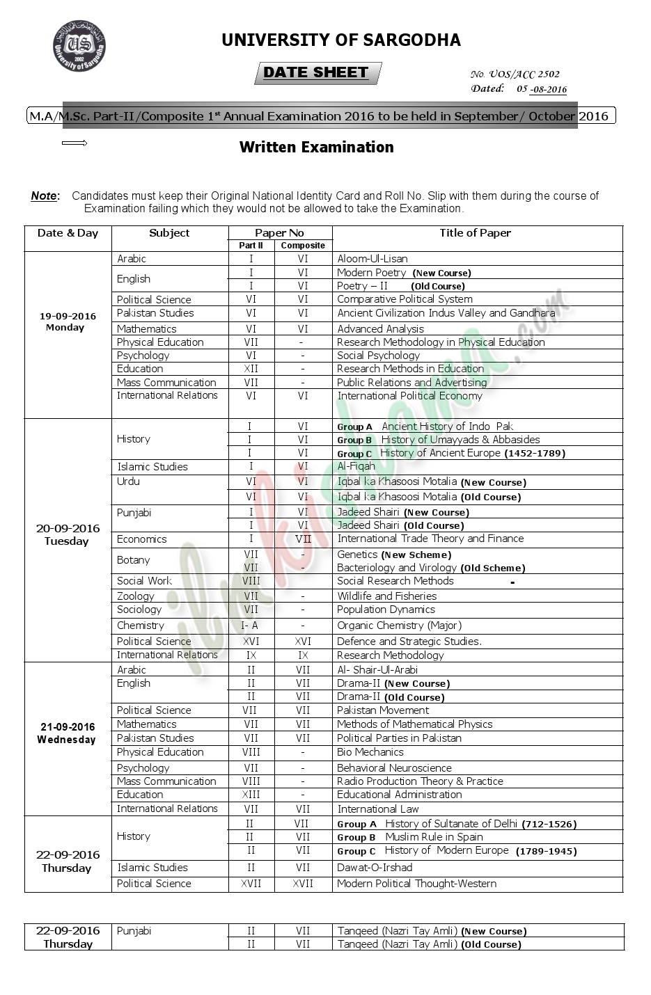 Date Sheet M.AM.Sc Part-II saragodha university 2016 1