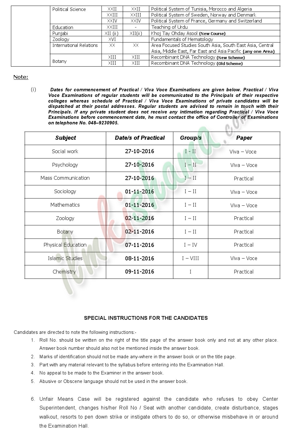 Date Sheet M.AM.Sc Part-II saragodha university 2016 5