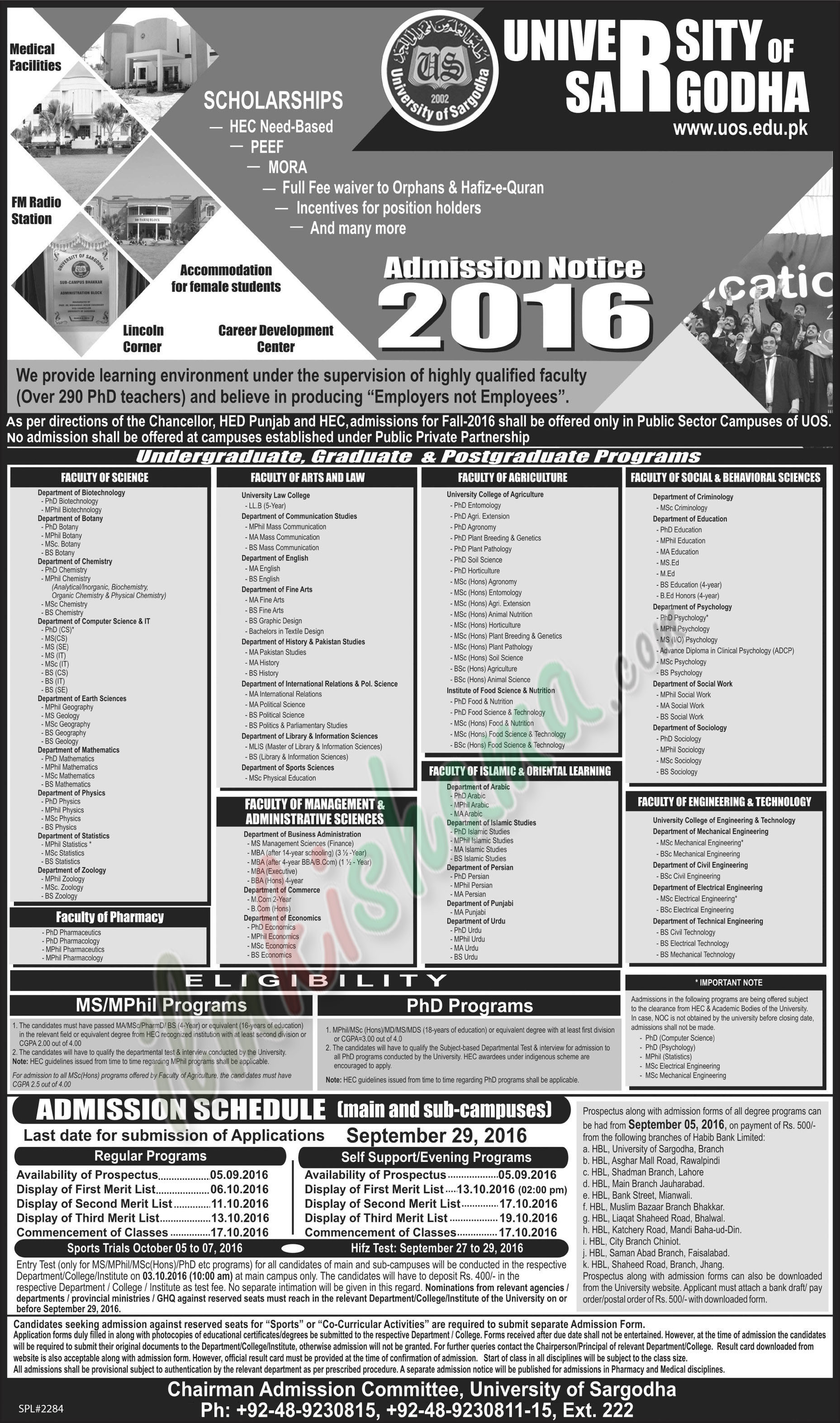 University of sargodha regular admissions 2016